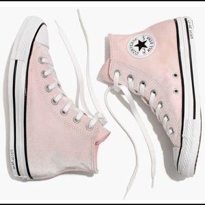 Light Pink Velvet Converse Sneakers